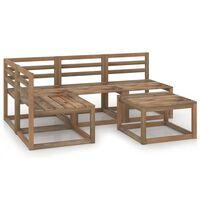 vidaXL 5dílná zahradní sedací souprava hnědá impregnovaná borovice