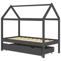 vidaXL Rám dětské postele se zásuvkou tmavě šedý borovice 80 x 160 cm