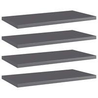 vidaXL Přídavné police 4 ks šedé vysoký lesk 40x20x1,5 cm dřevotříska