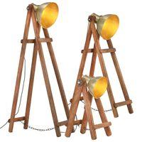 vidaXL Stojací lampy 3 ks mosazné E27 masivní mangovníkové dřevo