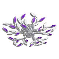 Stropní svítidlo, bílé a fialové křišťálové listy, na 5 žárovek E14