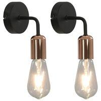 vidaXL Nástěnná světla 2 ks s žhavicími žárovkami 2 W černá a měď E27