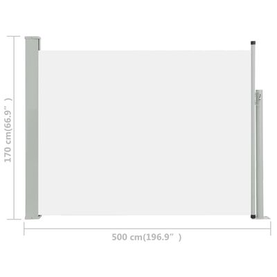 vidaXL Zatahovací boční markýza/zástěna na terasu 170 x 500 cm krémová