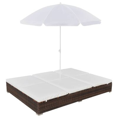 vidaXL Zahradní postel se slunečníkem polyratan hnědá