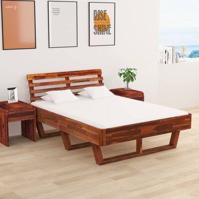 vidaXL Rám postele s 2 nočními stolky masivní akácie 140 x 200 cm