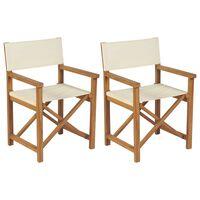 vidaXL Skládací režisérská židle 2 ks masivní teakové dřevo