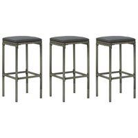 vidaXL Barové stoličky s poduškami 3 ks šedé polyratan