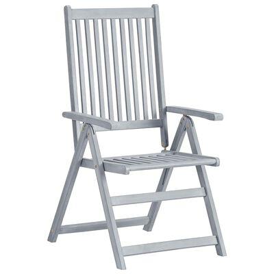 vidaXL Zahradní polohovací židle 6 ks šedé masivní akáciové dřevo
