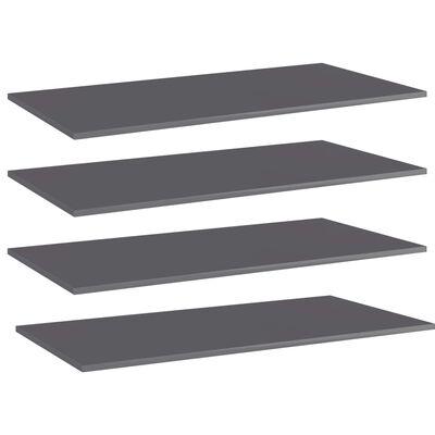vidaXL Přídavné police 4 ks šedé vysoký lesk 80x20x1,5 cm dřevotříska
