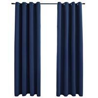 vidaXL Zatemňovací závěsy s kovovými kroužky 2 ks modré 140 x 225 cm