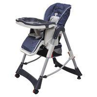 VidaXL Dětská vysoká židle výškově nastavitelná Deluxe, tmavě modrá