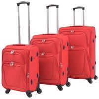 vidaXL 3dílná souprava měkkých kufrů na kolečkách, červená