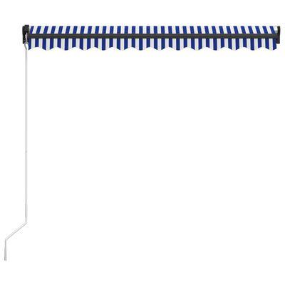 vidaXL Ručně zatahovací markýza 300 x 250 cm modrobílá