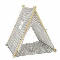 SoBuy OSS02-HG Hrací stan, hrací dům, světle šedá 104 x 110 x 100 cm