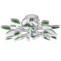 Stropní svítidlo, bílé a zelené křišťálové listy, na 3 žárovky E14