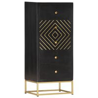 vidaXL Komoda se zásuvkami černá a zlatá 45x30x105cm masivní mangovník