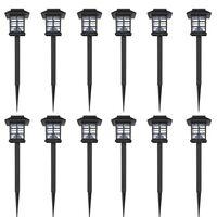 Venkovní solární LED lampa s hrotem, sada 12 ks, 8,6 x 8,6 x 38 cm