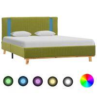 vidaXL Rám postele s LED světlem zelený textil 140 x 200 cm