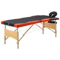 vidaXL Skládací masážní stůl 3 zóny dřevěný černý a oranžový