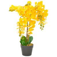 vidaXL Umělá rostlina orchidej s květináčem žlutá 60 cm