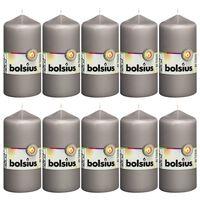 Bolsius Válcové svíčky 10 ks 120 x 58 mm teple šedé