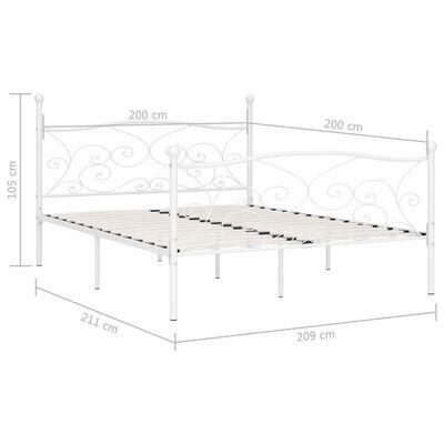 vidaXL Rám postele s laťkovým roštem bílý kov 200 x 200 cm