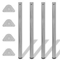 4 výškově nastavitelné stolové nohy broušený nikl 870 mm