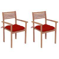 vidaXL Zahradní židle 2 ks červené podušky masivní teak