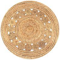 vidaXL Kusový koberec z juty se splétaným designem 90 cm kulatý