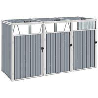 vidaXL Trojitý přístřešek na popelnice šedý 213 x 81 x 121 cm ocel