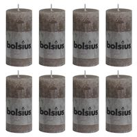 Bolsius Rustikální válcové svíčky 8 ks 100 x 50 mm taupe