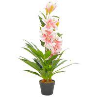 vidaXL Umělá rostlina lilie s květináčem růžová 90 cm