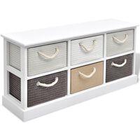 vidaXL Úložná lavice se 6 zásuvkami, dřevěná