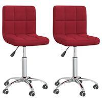 vidaXL Otočné jídelní židle 2 ks vínové textil