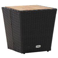 vidaXL Čajový stolek černý 41,5x41,5x43 cm polyratan a masivní akácie