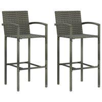 vidaXL Barové stoličky 2 ks šedé polyratan