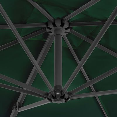 vidaXL Konzolový slunečník s hliníkovou tyčí 250 x 250 cm zelený