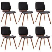 vidaXL Jídelní židle 6 ks černé umělá kůže