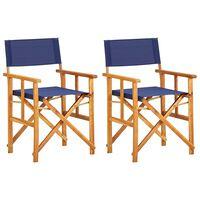 vidaXL Režisérské židle 2 ks masivní akáciové dřevo modré