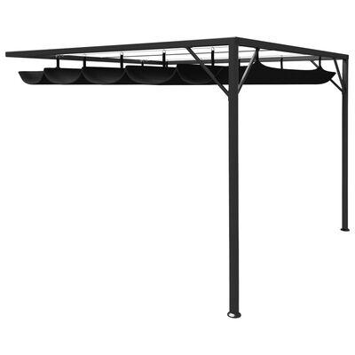 vidaXL Zahradní nástěnný altán se zatahovací střechou 3x3m antracitový