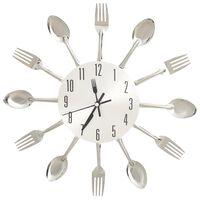 vidaXL Nástěnné hodiny s vidličkami a lžícemi stříbrné 31 cm hliník