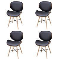 vidaXL Jídelní židle 4 ks ohýbané dřevo a umělá kůže