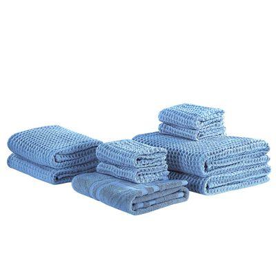 Modrá Sada 9 Bavlněných Ručníků Areora