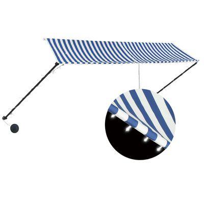 vidaXL Zatahovací markýza s LED světlem 350 x 150 cm modrobílá