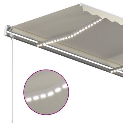 vidaXL Automatická markýza LED a senzor větru 400 x 300 cm krémová