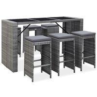 vidaXL 7dílný zahradní barový set s poduškami polyratan šedý