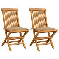 vidaXL Zahradní židle s béžovými poduškami 2 ks masivní teak