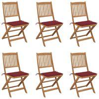 vidaXL Skládací zahradní židle s poduškami 6 ks masivní akácie
