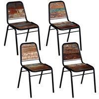 vidaXL Jídelní židle 4 ks masivní recyklované dřevo