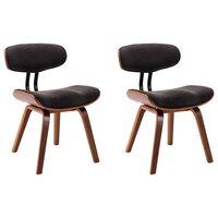 vidaXL Jídelní židle 2 ks šedé ohýbané dřevo a textil